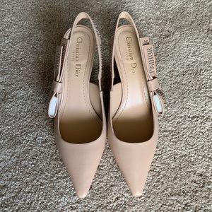 Dior Jadior Leather Slingback Kitten Heel